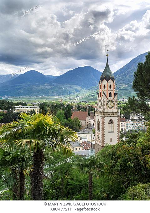 City of Meran Merano with church Europe, Central Europe, Italy, South Tyrol, April
