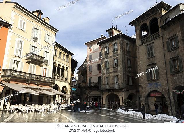 View of the Market Square after the snowstorm. Domodossola, Piedmont. Italy