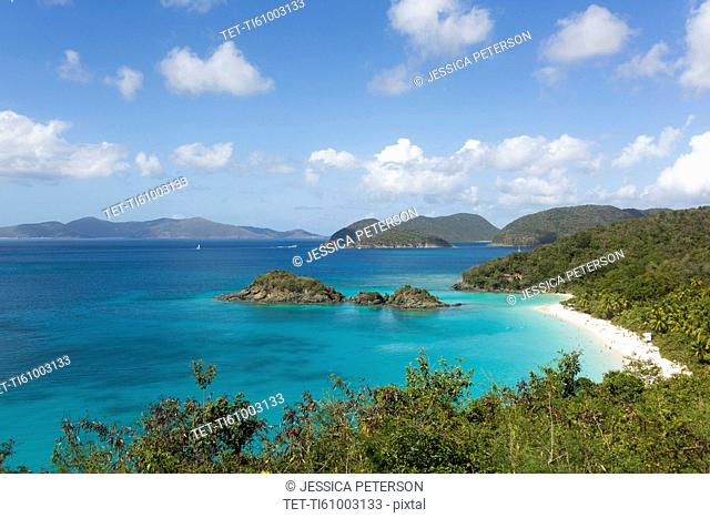 USA, Virgin Islands, St. Thomas, Landscape with Caribbean Sea