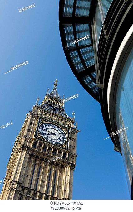 Big Ben Clock Face, Parliament, London, England, Uk