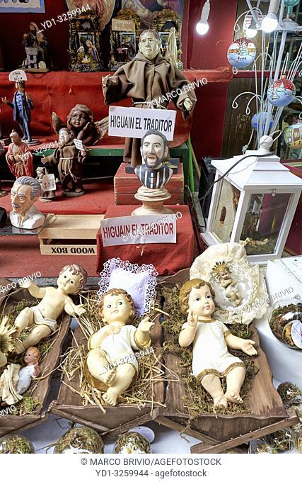Naples Campania Italy. Statues figurines of the Christmas Nativity Scene in the artisan workshops of Via Gregorio armeno