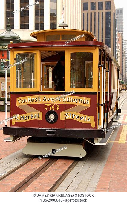 A Cable Car Prepares to Move on California Street, San Francisco