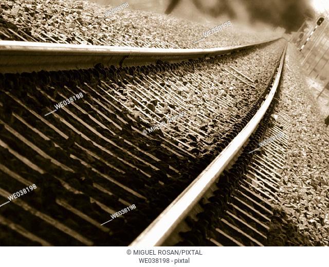 Via of train of neighborhoods of Valencia-Paterna-Lliria. Comunidad Valenciana. Spain
