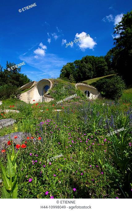 earth house, green roof, Switzerland