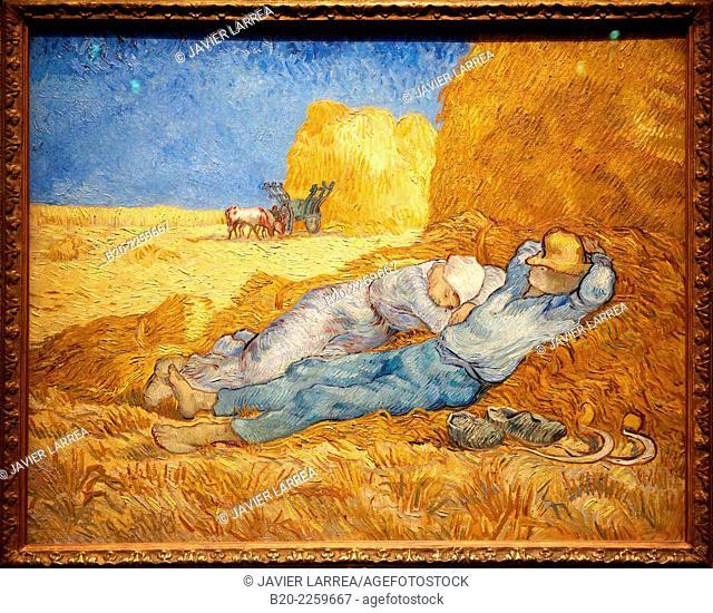 The siesta (after Millet), 1890. by Vincent Van Gogh (1853-1890). Musée d'Orsay. Orsay Museum. Paris. France