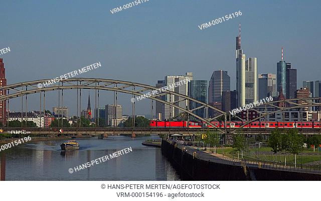 European Central Bank and skyline of Frankfurt am Main, Hesse, Germany