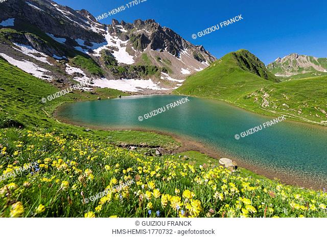 France, Savoie, Beaufortain massif, hiking to col du Coin and lake Amour, the lake Amour (2248m)