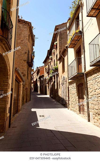 Typical old houses in Sant Pau street in Solsona village. Lleida, Catalonia, Spain