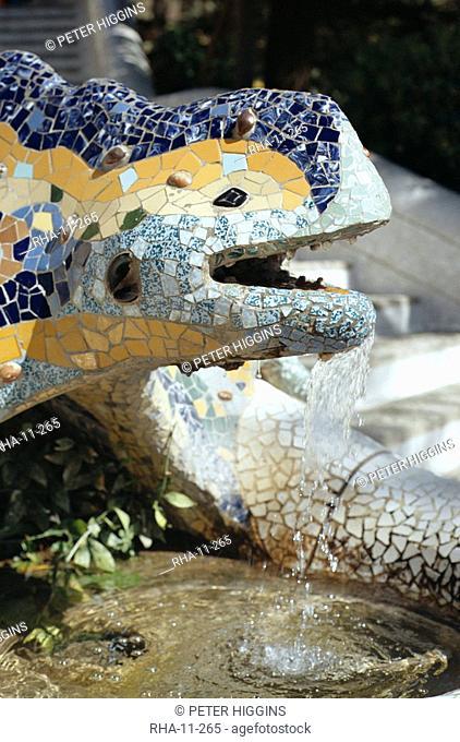 Close-up of mosaic dragon, by Gaudi, Parc Guell, Barcelona, Catalonia Cataluna Catalunya, Spain, Europe