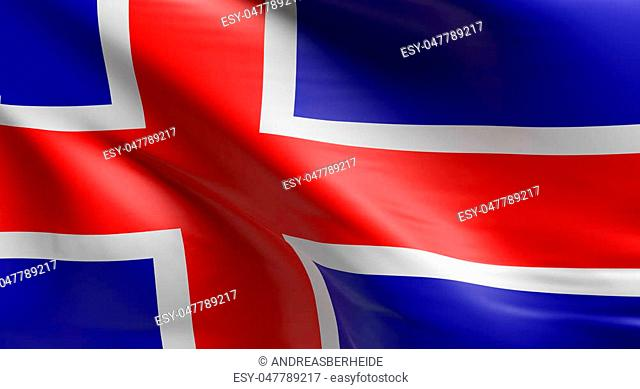 Flag of Iceland using as background, 3d rendering