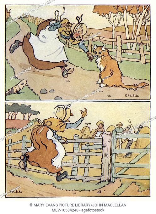 Nursery Rhymes -- two illustrations, The Old Woman and Her Pig. She asks the cat to kill the rat -- the cat agrees to kill the rat if the woman will bring her...