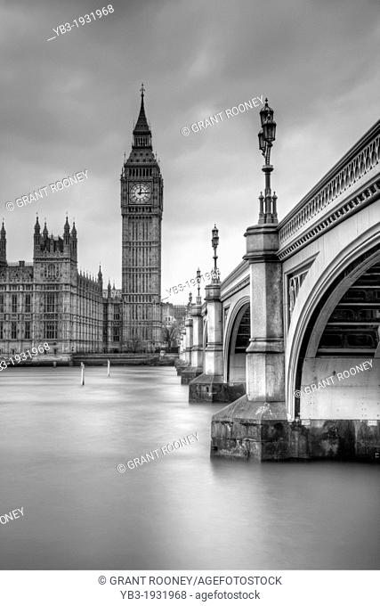 Westminster Bridge, Big Ben and The Houses of Parliament, London, England