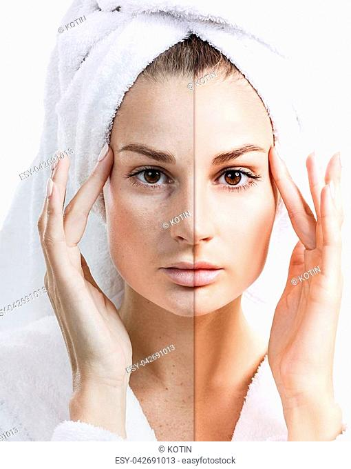 Woman face with bath towel on head before and after retouch