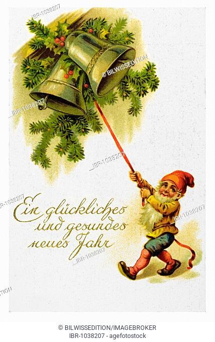 Historical New Year greetings card, dwarf, two bells, Ein glueckliches und gesundes neues Jahr, A happy and healthy new year