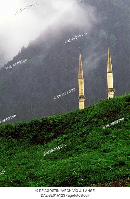 Minarets of the mosque on Lake Uzungol, Trabzon, Black Sea region, Turkey