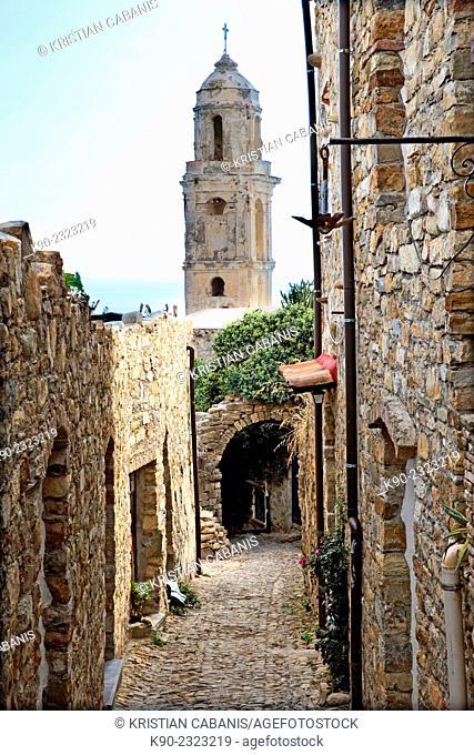 Ruin of the old earthquake stricken church of Bussana Vecchia, Liguria, Italy, Europe