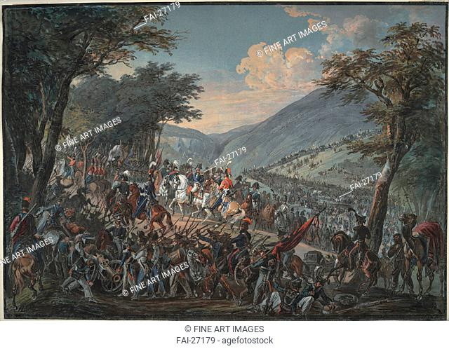 Emperor Alexander I and his entourage passed through the Vosges mountains in July 1815 by Hoechle, Johann Baptist (1754-1832)/Watercolour on paper/History...