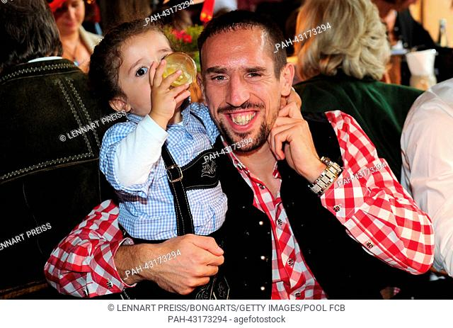 Franck Ribery of Bayern Muenchen attends the Oktoberfest 2013 beer festival at Kaefers Wiesenschaenke in Munich, Germany, 06 October 2013