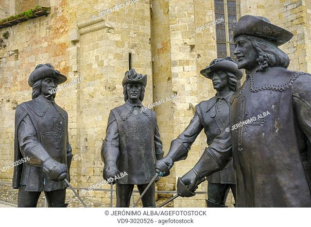 Four Musketeers. Cathedral St. Pierre de Condom. Le Gers Department, New Aquitaine, Midi Pyerenees. France Europe