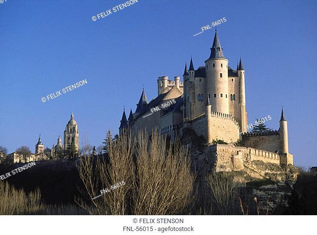 Low angle view of castle, Segovia, Spain, Europe