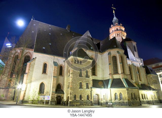 St  Nicholas Church Nikolaikirch at night, Leipzig, Saxony, Germany