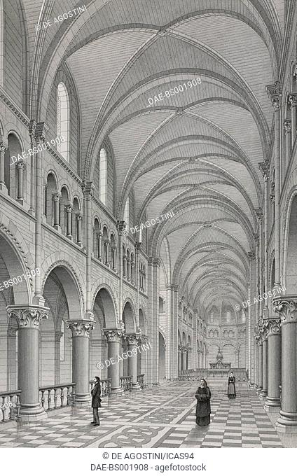 Interior of the Church of Saint-Joseph-des-Nations in Paris, designed by Theodore Ballu, France, engraving by Boisset after a drawing by Chaine, from Paris