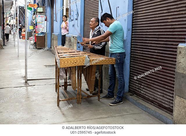 On the streets of Oaxaca it is common to find musicians who play the marimba, a typical instrument of the Mexican southeast