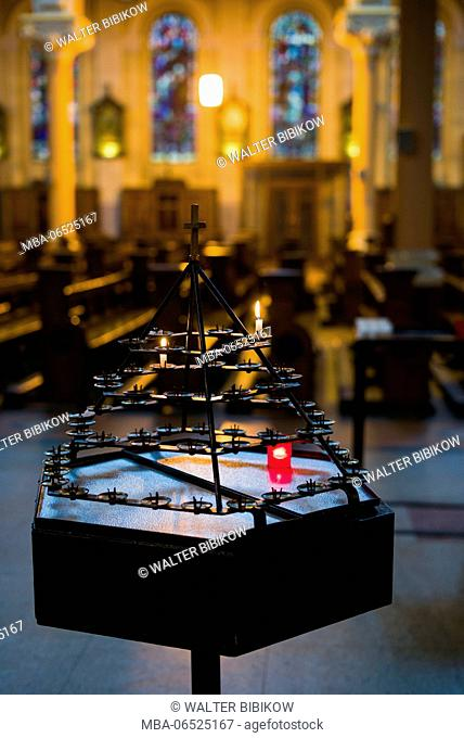 Ireland, Dublin, Whitefriar Street Church, burial place of St. Valentine, votive candle