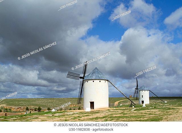 Typical windmills in Campo de Criptana village, in the Route of Don Qiuijote, Ciudad Real province, Castilla-La Mancha, Spain