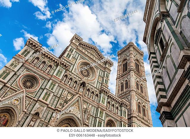Florence, Italy. Detail of the Duomo during a bright sunny day but without shadow on the facade (very rare!)