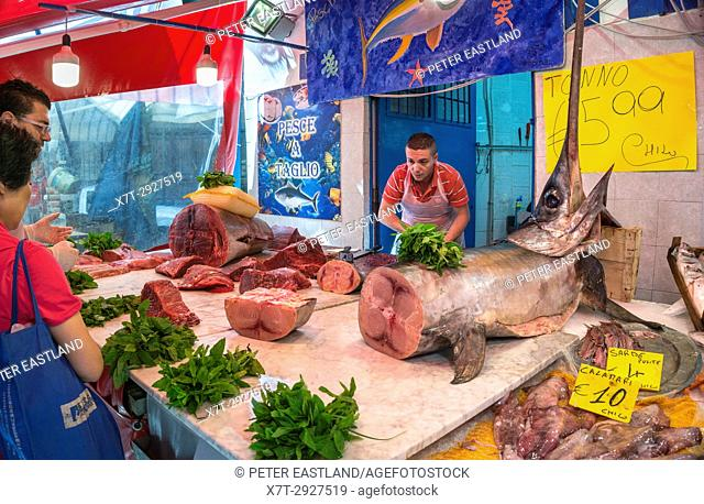 A fishmongers stall in The Ballaro Market in the Albergheria district of central Palermo, Sicily, Italy