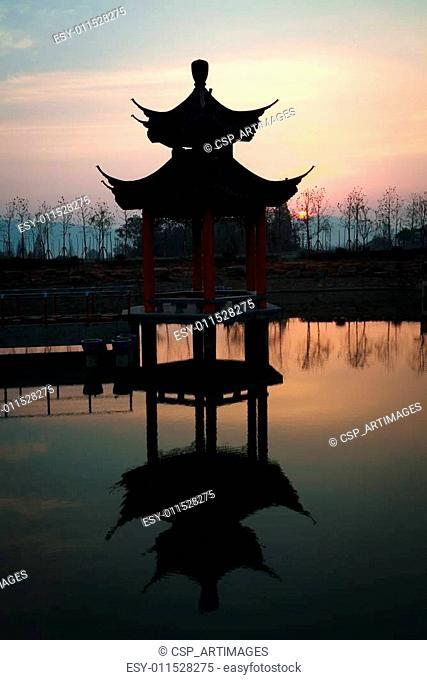 China of ancient pavilion at sunrise