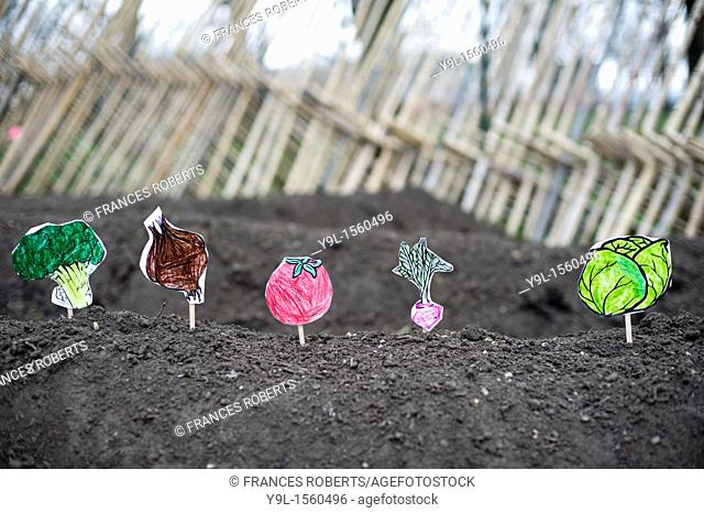 Paper vegetables planted by first grade students at the newly opened Urban Farm at the Battery in lower Manhattan in New York  The Urban Farm occupies a full...