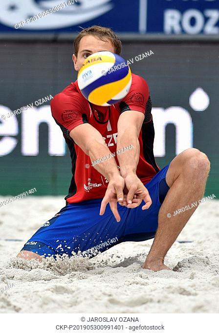 Ondrej Perusic of Czech Republic in action during the Ostrava Beach Open match of Czech men's pair David Schweiner and Ondrej Perusic against Aleksandrs...