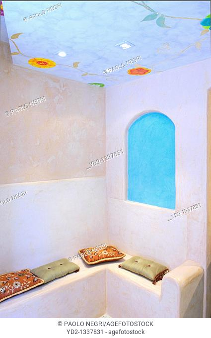 Interior Bath with Moroccan plaster walls technique called tadelakt