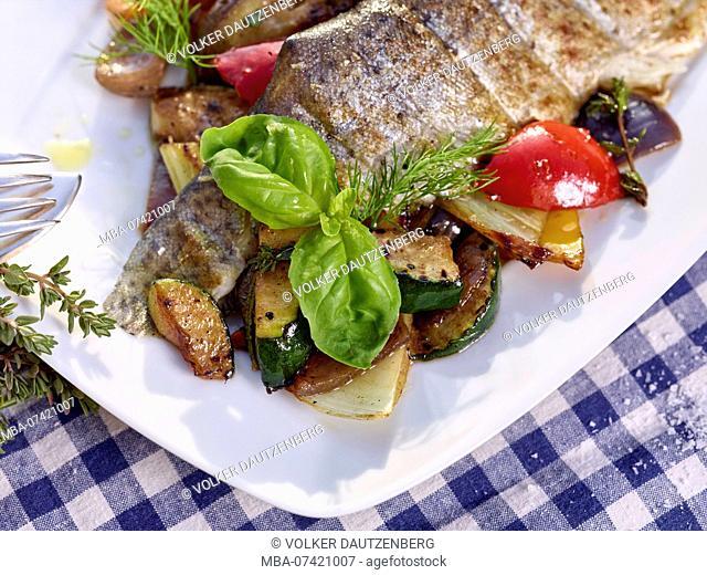 grilled trout fillet with Mediterranean vegetables