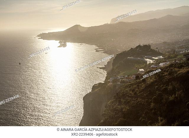 Aerial view of Funchal at sunset, Madeira, Portugal
