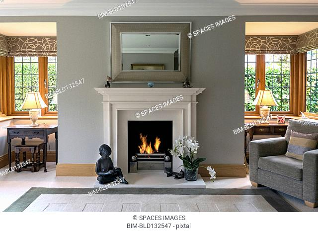 Fireplace and armchair living room