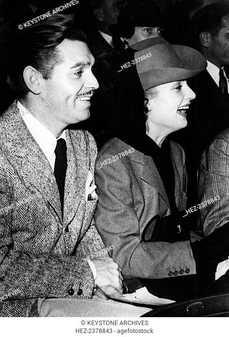 American film stars Clark Gable and Carol Lombard in Hollywood, Los Angeles, USA, c1936-c1942. Two of Hollywood's biggest stars of the 1930s