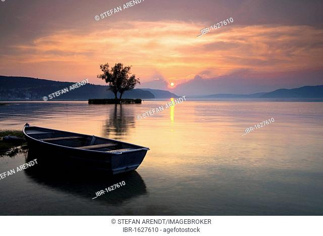 Boat on Lake Constance near Dingelsdorf at sunset, view towards Ueberlinger See lake, Baden-Wuerttemberg, Germany, Europe