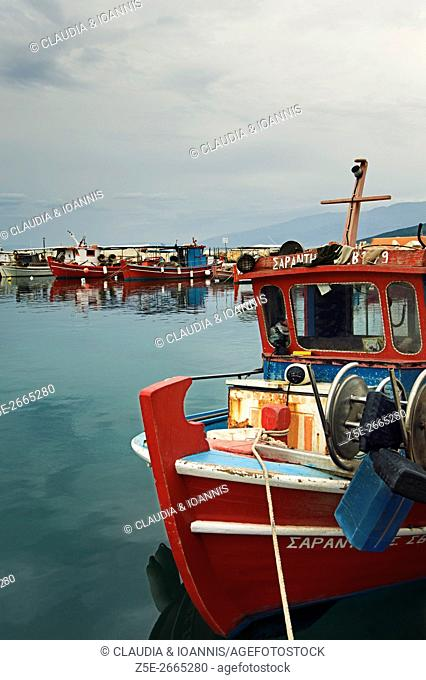 Traditional fishing boats harbored on Pelion Peninsula, Thessaly, Greece