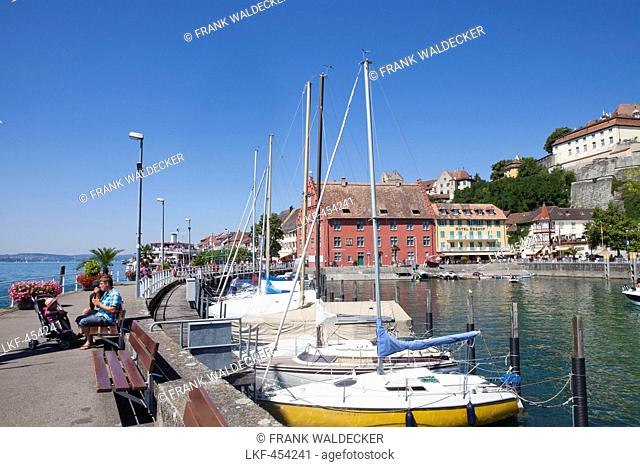Harbour and historical center of Meersburg, Lake Constance, Swabia, Baden-Wuerttemberg, Germany, Europe
