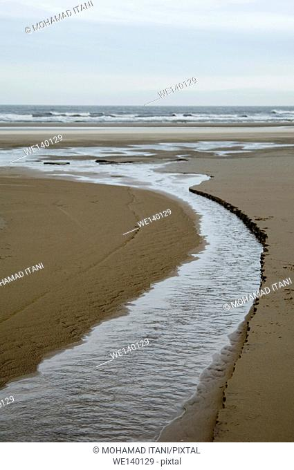 stream in the sand towards the sea
