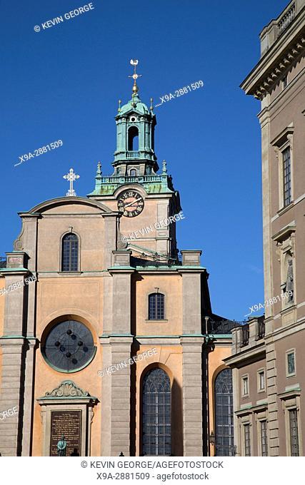 Storkyrkan Church and Royal Palace, Gamla Stan; Stockholm; Sweden; Europe