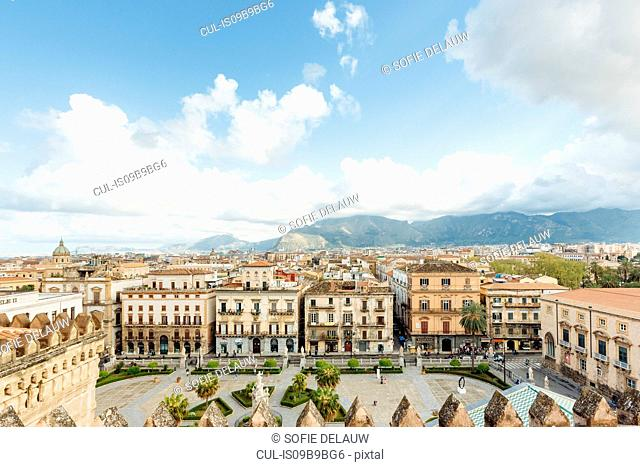 Mountain across cityscape, Palermo, Sicily, Italy, Europe