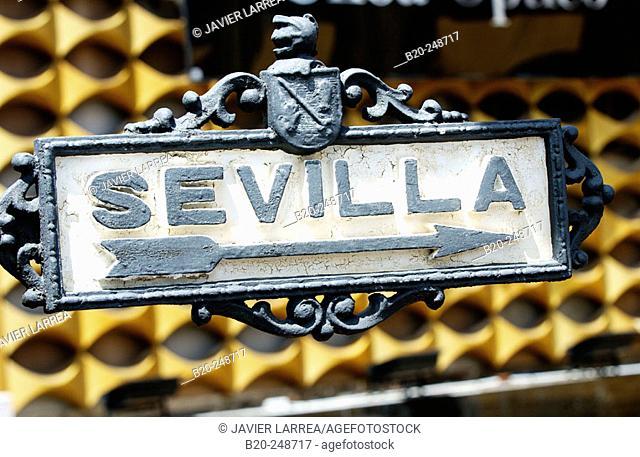 Sevilla sign at Jerez de la Frontera, Cádiz province. Spain