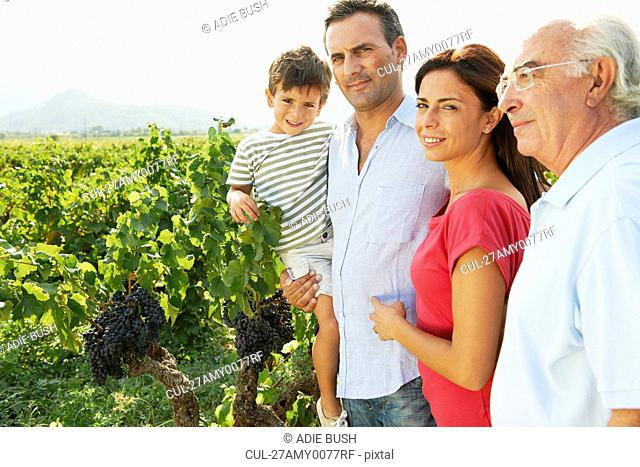 Generational family in a vineyard