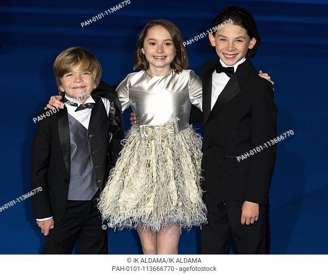 Joel Dawson, Pixie Davies and Nathanael Saleh attend MARY POPPINS RETUNS European Premiere at The Royal Albert Hall. London, UK
