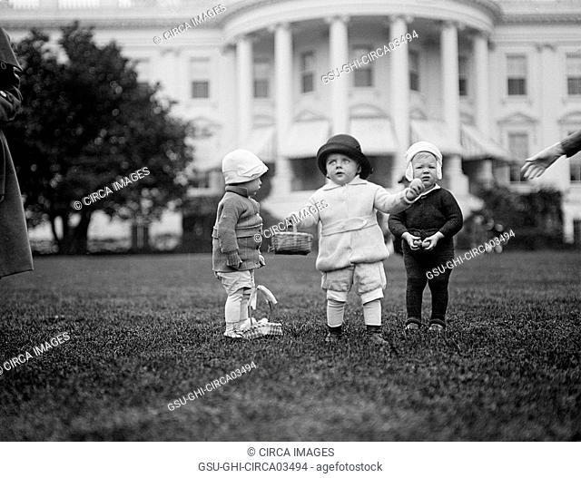 Children with Easter Baskets, White House, Washington DC, USA, Harris & Ewing, 1922