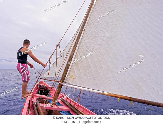 Nautical Club Training on the traditional whaling boat, Lajes do Pico, Pico Island, Azores, Portugal